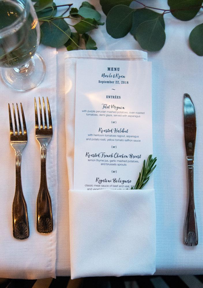 a menu on tablecloth