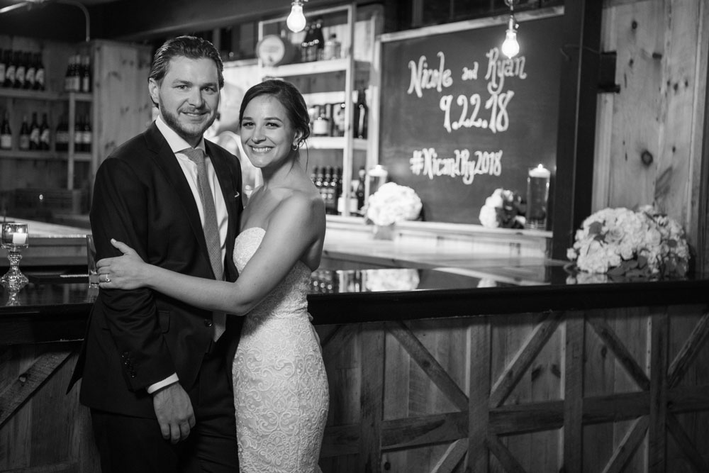 greyscale image of newly wed couple